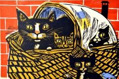 Werner Schinko, Der Katzenkorb, Linolschnitt, mehrfarbig