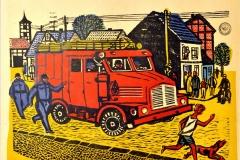 Werner Schinko, Feuerwehr, Holzschnitt, mehrfarbig