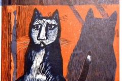 Werner Schinko, Katze vor roter Mauer, Holzschnitt