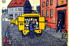 Werner Schinko, Postauto, Holzschnitt, mehrfarbig